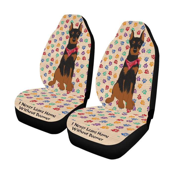 Personalized I Never Leave Home Paw Print Doberman Pinscher Dogs Pet Front Car Seat Cover (Set of 2)