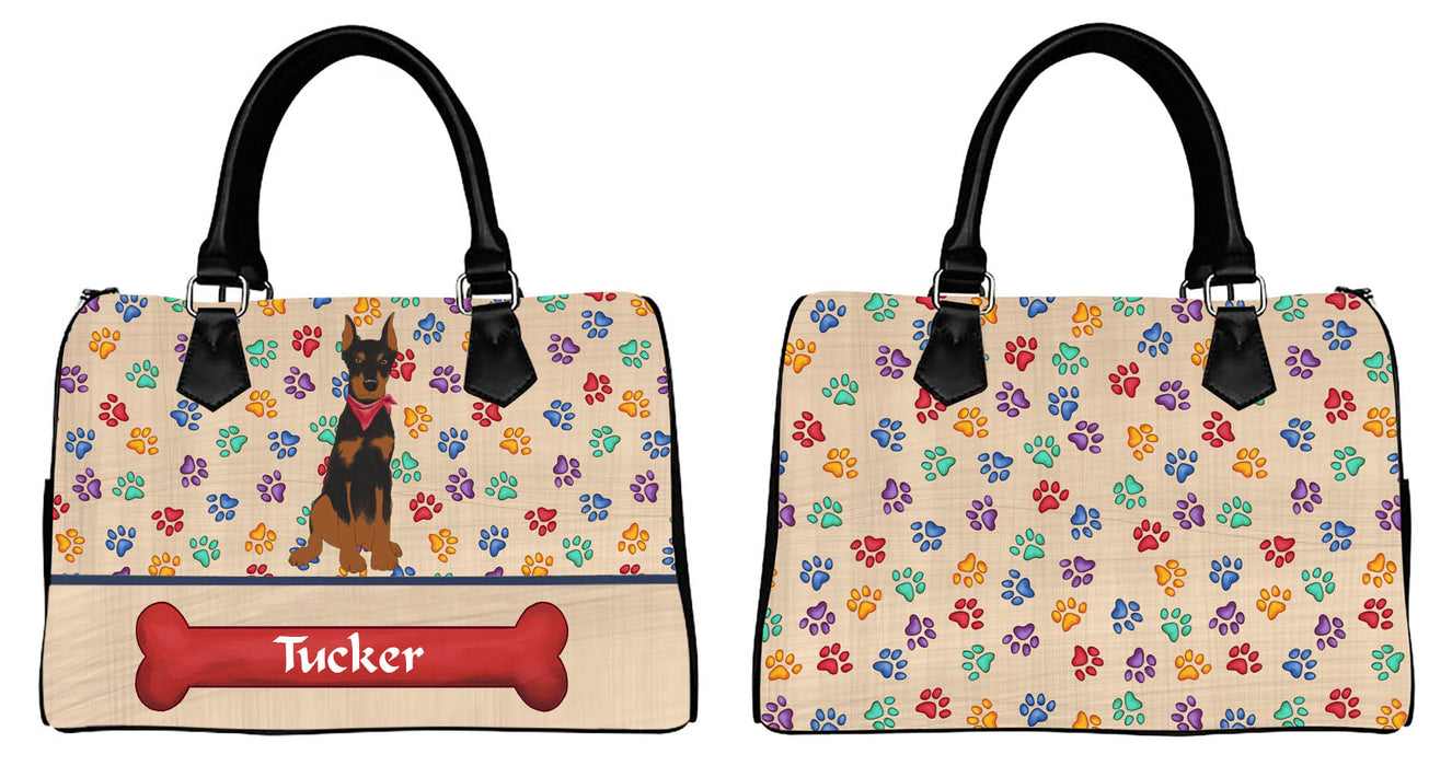 Custom PersonalizedRed Paw Print Doberman Pinscher Dog Euramerican Tote Bag Doberman Pinscher Dog Boston Handbag