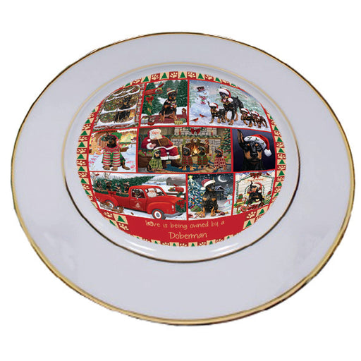 Love is Being Owned Christmas Doberman Pinscher Dogs Porcelain Plate PLT57271