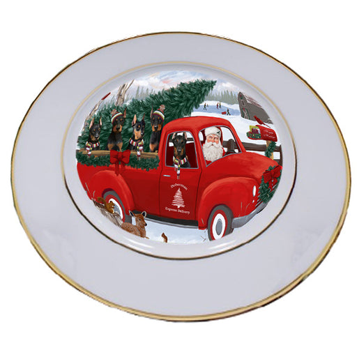 Christmas Santa Express Delivery Doberman Pinschers Dog Family Porcelain Plate PLT56957