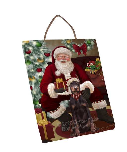 Santa's Christmas Surprise Doberman Dog Wall Décor Hanging Photo Slate SLTH58429