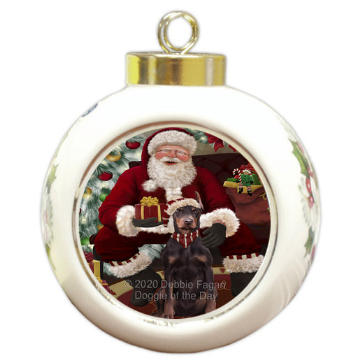 Santa's Christmas Surprise Doberman Dog Round Ball Christmas Ornament RBPOR58019