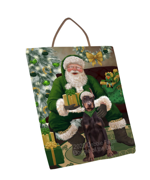 Christmas Irish Santa with Gift and Doberman Dog Wall Décor Hanging Photo Slate SLTH58331