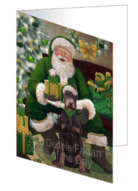 Christmas Irish Santa with Gift and Doberman Dog Note Card NCD75833