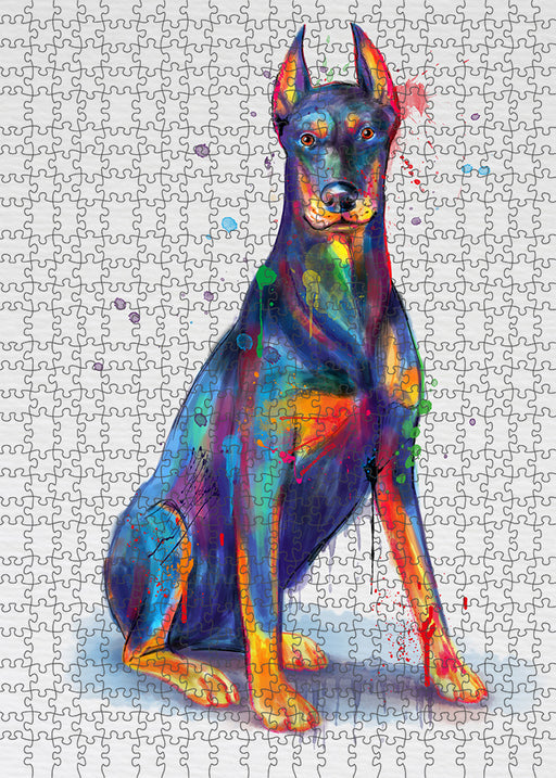 Watercolor Dobermann Dog Puzzle with Photo Tin PUZL97152