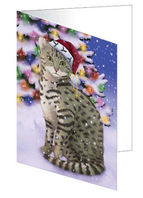 Winterland Wonderland Egyptian Mau Cat In Christmas Holiday Scenic Background Note Card NCD71630