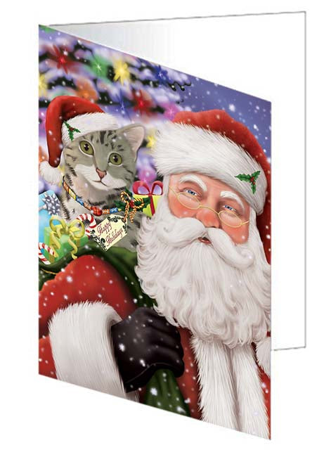 Santa Carrying Egyptian Mau Cat and Christmas Presents Greeting Card GCD71036