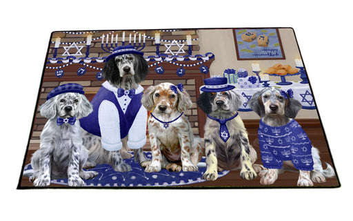 Happy Hanukkah Family English Setter Dogs Floormat FLMS55549