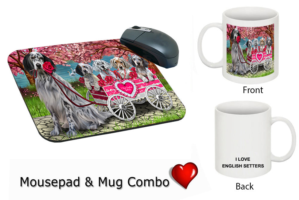 I Love English Setter Dogs in a Cart Mug & Mousepad Combo Gift Set MPC52509