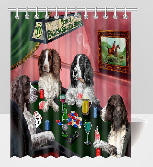 Home of  English Springer Spaniel Dogs Playing Poker Shower Curtain