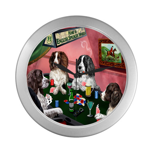 Home of English Springer Spaniel Dogs Playing Poker Silver Wall Clocks