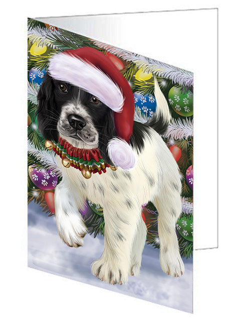 Trotting in the Snow English Springer Spaniel Dog Greeting Card GCD68135