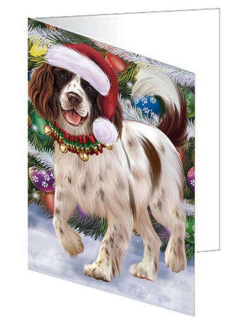 Trotting in the Snow English Springer Spaniel Dog Greeting Card GCD68138