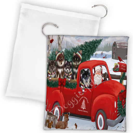Christmas Santa Express Delivery Red Truck Finnish Lapphund Dogs Drawstring Laundry or Gift Bag LGB48306