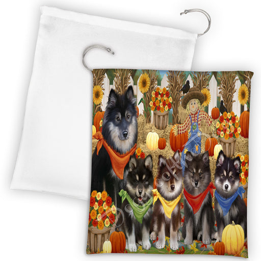 Fall Festive Harvest Time Gathering Finnish Lapphund Dogs Drawstring Laundry or Gift Bag LGB48403