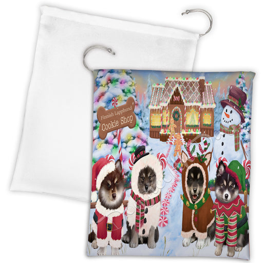 Holiday Gingerbread Cookie Finnish Lapphund Dogs Shop Drawstring Laundry or Gift Bag LGB48597