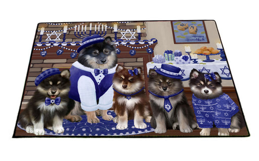 Happy Hanukkah Family Finnish Lapphund Dogs Floormat FLMS55552