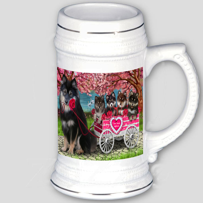 I Love Finnish Lapphund Dogs in a Cart Beer Stein BST57004