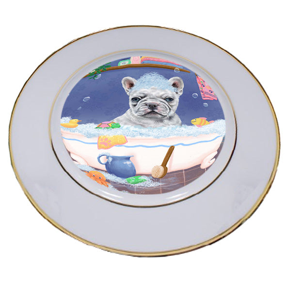 Rub A Dub Dog In A Tub French Bulldog Porcelain Plate PLT57414