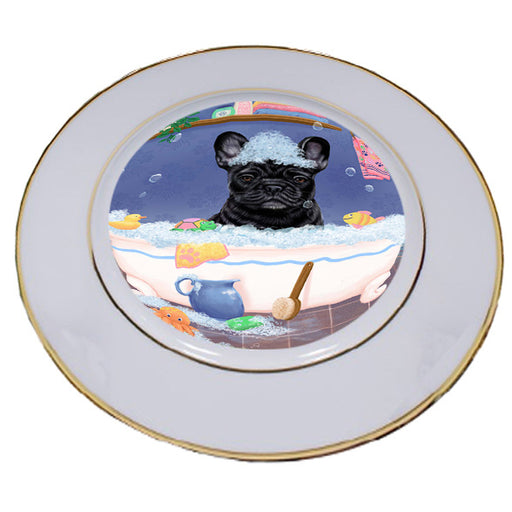 Rub A Dub Dog In A Tub French Bulldog Porcelain Plate PLT57415
