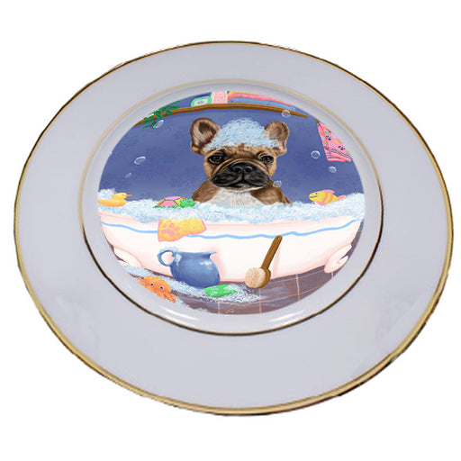 Rub A Dub Dog In A Tub French Bulldog Porcelain Plate PLT57416