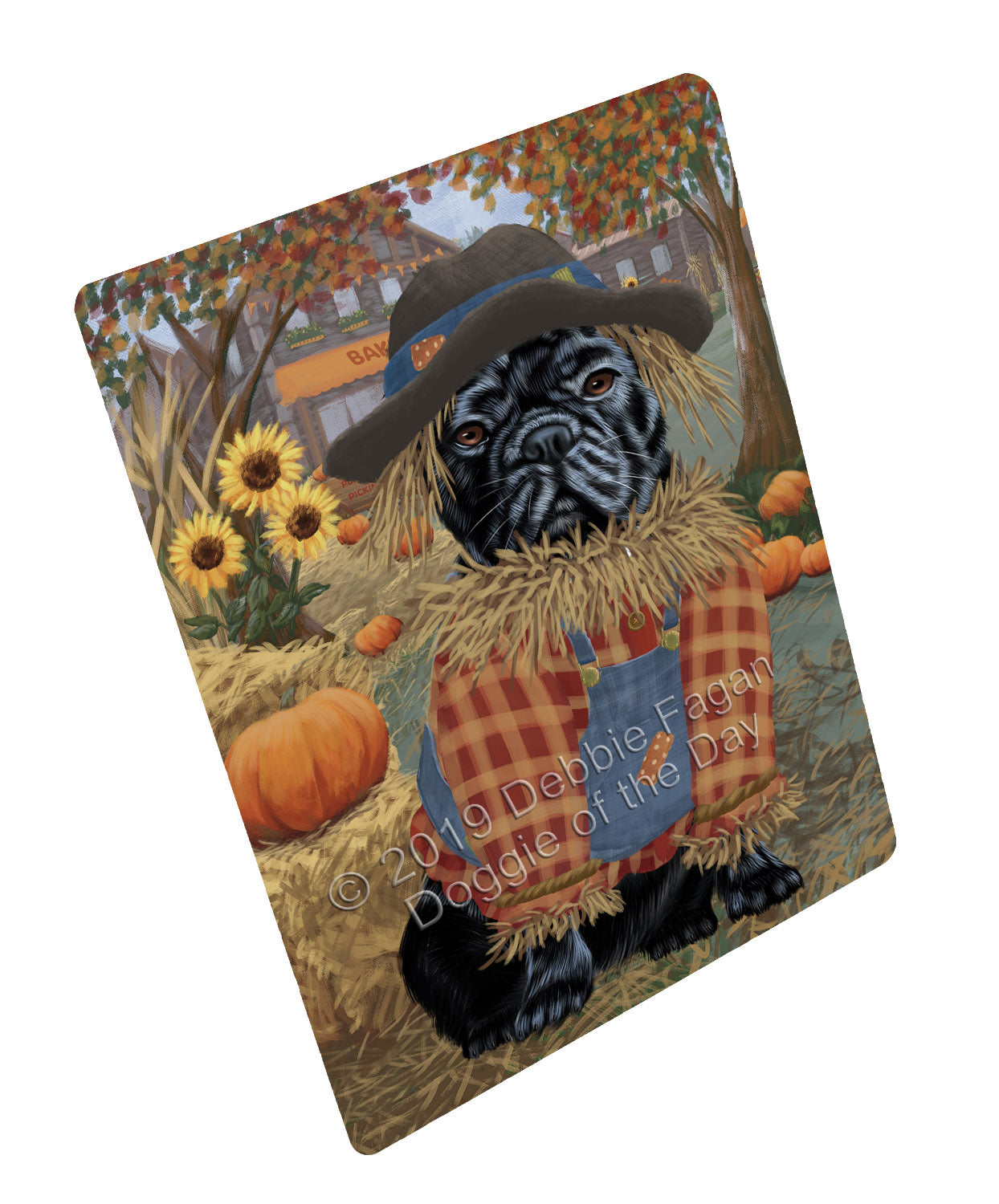 Halloween 'Round Town And Fall Pumpkin Scarecrow Both French BullDogs Large Refrigerator / Dishwasher Magnet RMAG104772