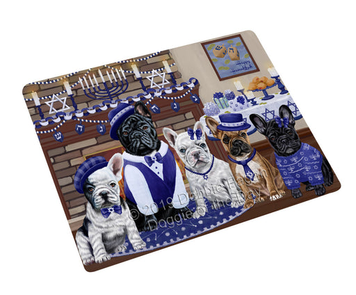 Happy Hanukkah Family and Happy Hanukkah Both French Bulldogs Large Refrigerator / Dishwasher Magnet RMAG105474