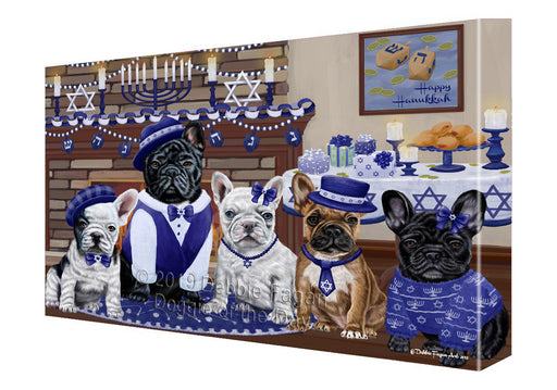 Happy Hanukkah Family and Happy Hanukkah Both French Bulldogs Canvas Print Wall Art Décor CVS141155