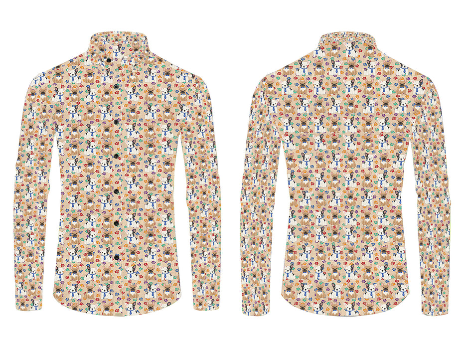 Rainbow Paw Print French Bulldog Dogs Blue All Over Print Casual Dress Men's Shirt