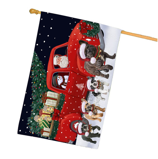 Christmas Express Delivery Red Truck Running French Bulldogs House Flag FLG66522