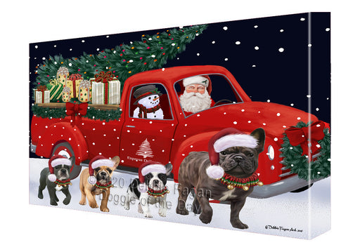 Christmas Express Delivery Red Truck Running French Bulldogs Canvas Print Wall Art Décor CVS146096