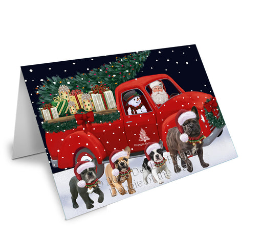Christmas Express Delivery Red Truck Running French Bulldogs Greeting Card GCD75140