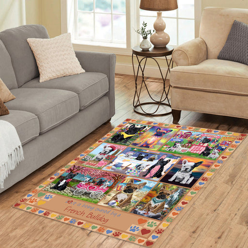 Love is Being Owned French Bulldog Beige Area Rug
