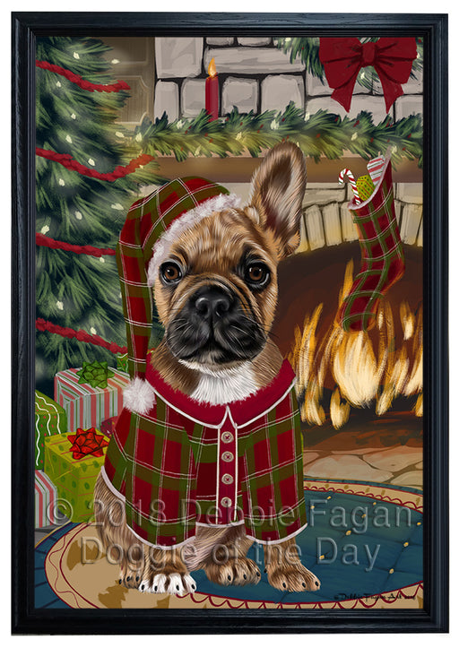 The Stocking was Hung French Bulldog Framed Canvas Print Wall Art FCVS177217