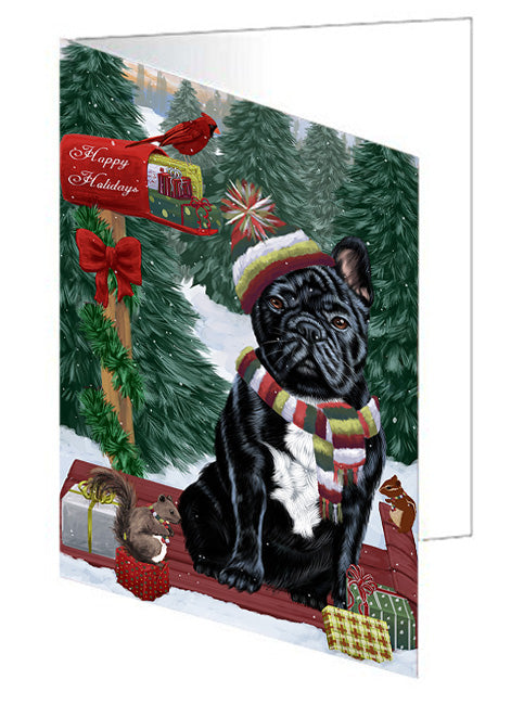 Merry Christmas Woodland Sled French Bulldog Note Card NCD69296