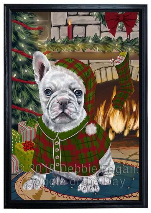 The Stocking was Hung French Bulldog Framed Canvas Print Wall Art FCVS177234
