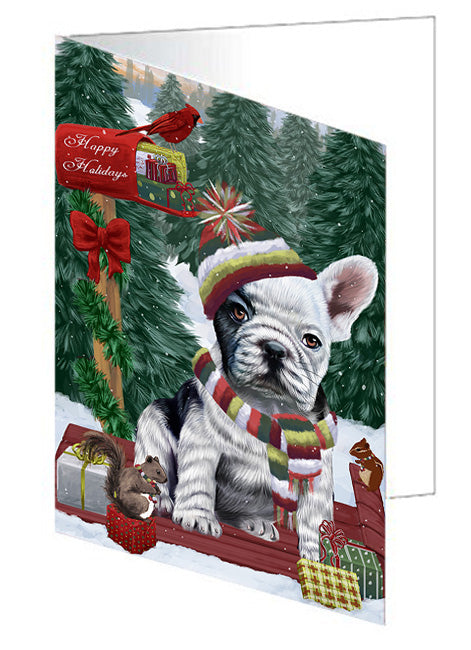 Merry Christmas Woodland Sled French Bulldog Note Card NCD69302
