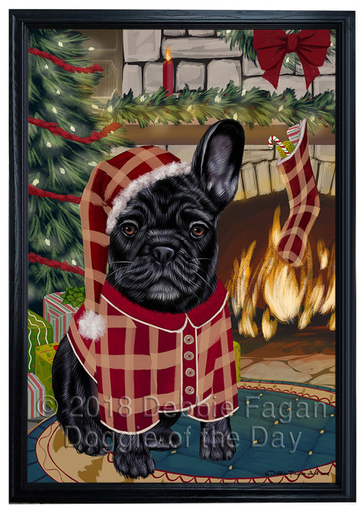 The Stocking was Hung French Bulldog Framed Canvas Print Wall Art FCVS177251