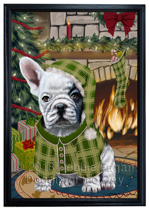 The Stocking was Hung French Bulldog Framed Canvas Print Wall Art FCVS177268