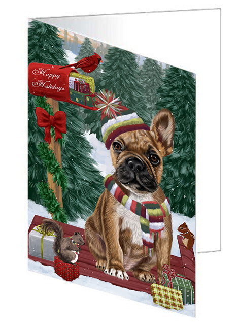 Merry Christmas Woodland Sled French Bulldog Note Card NCD69305