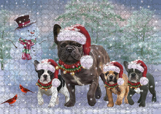 Christmas Running Family French Bulldogs Puzzle with Photo Tin PUZL90080