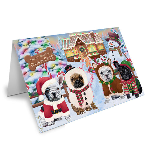 Holiday Gingerbread Cookie Shop French Bulldogs Note Card NCD73712