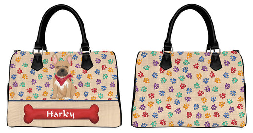 Custom PersonalizedRed Paw Print French Bulldog Euramerican Tote Bag French Bulldog Boston Handbag