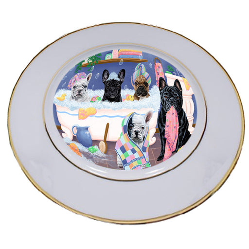 Rub A Dub Dogs In A Tub French Bulldogs Porcelain Plate PLT55137