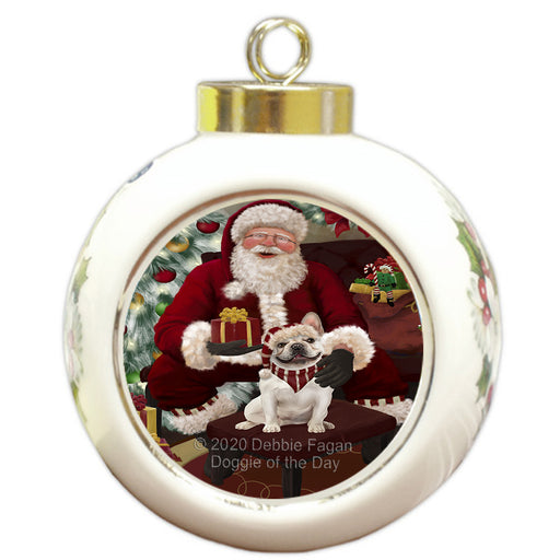 Santa's Christmas Surprise French Bulldog Round Ball Christmas Ornament RBPOR58024