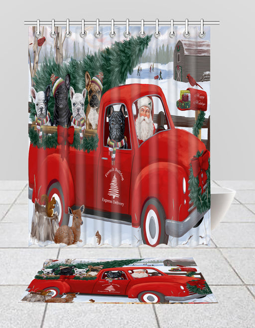 Christmas Santa Express Delivery Red Truck French BullDogs Bath Mat and Shower Curtain Combo