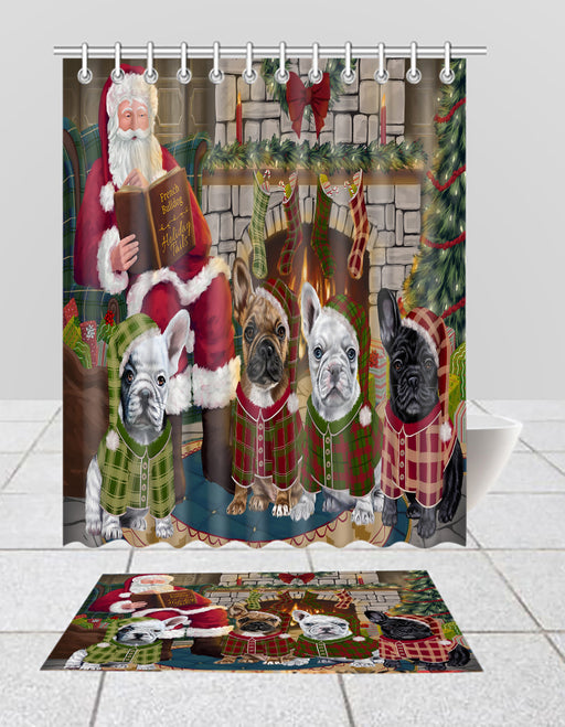 Christmas Cozy Holiday Fire Tails French BullDogs Bath Mat and Shower Curtain Combo