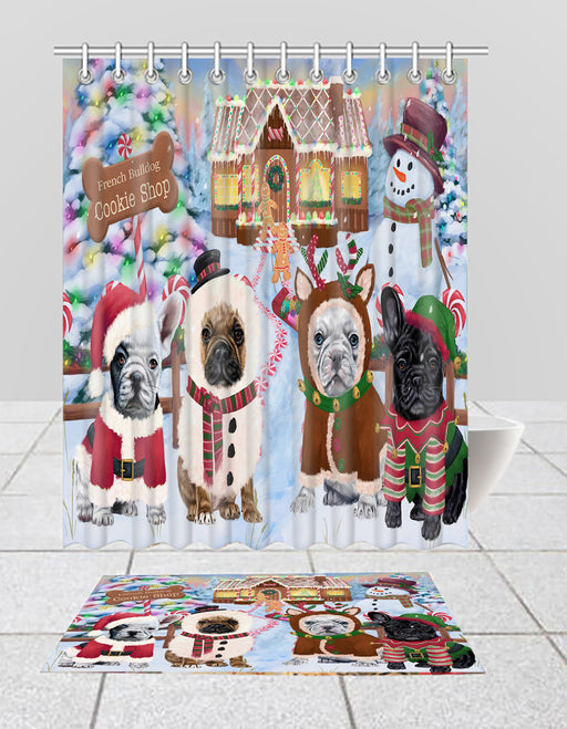 Holiday Gingerbread Cookie French BullDogs  Bath Mat and Shower Curtain Combo