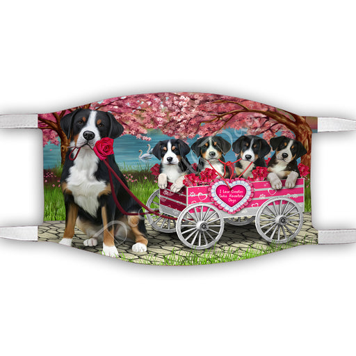 I Love Greater Swiss Mountain Dogs in a Cart Face Mask FM48152