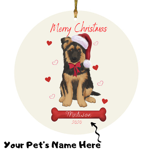 Personalized Merry Christmas  German Shepherd Dog Christmas Tree Round Flat Ornament RBPOR58957